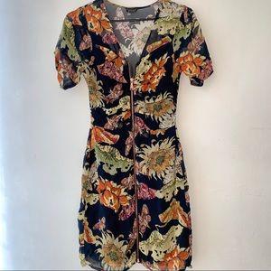 Topshop Floral V Neck Front Zip Structured Dress